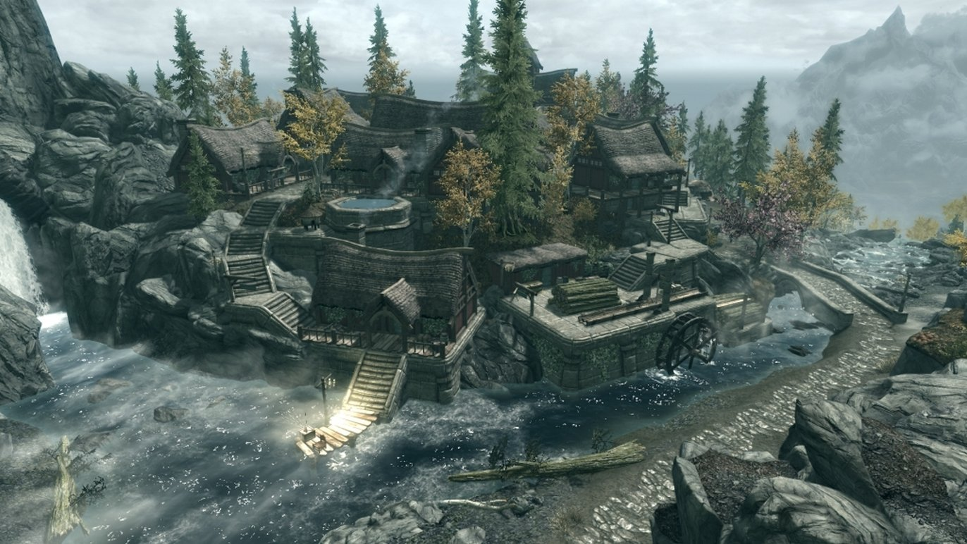 City of Pinemist with player home (Hearthfire's multi adoption mod compatible) Rus