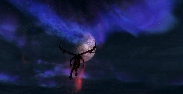 Лорд-Вампир летящий над горами Skyrim