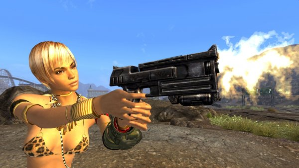 Стрельба в пустошах по геконам. New Vegas