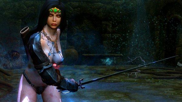 Нора, в битве с пауком. SkyrimLE (Тропики 4.0)