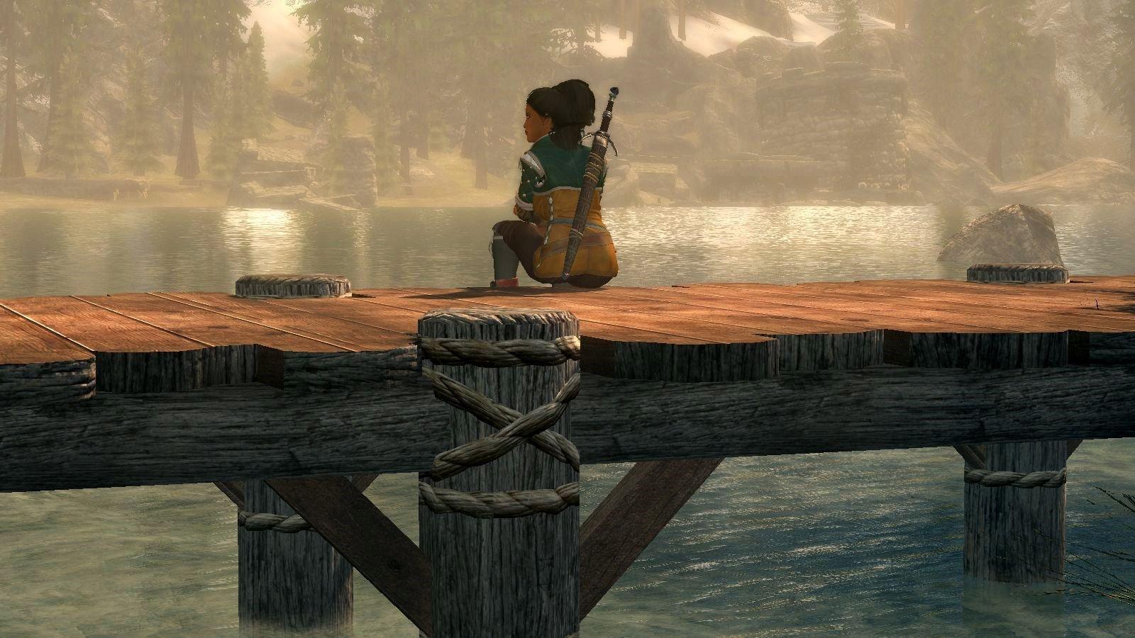 Дорианна любуется красотой озера..