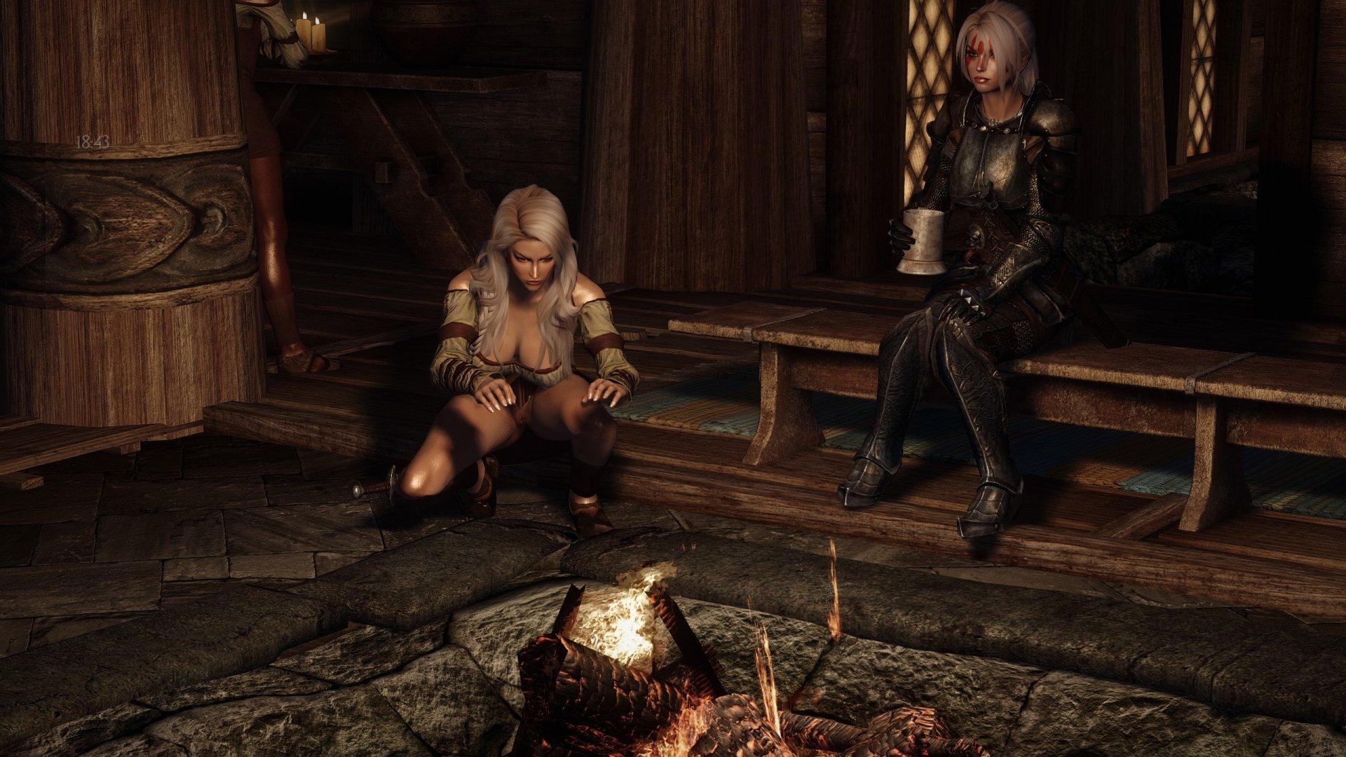 Ольфина и Фрея Серая Грива... греются у огня