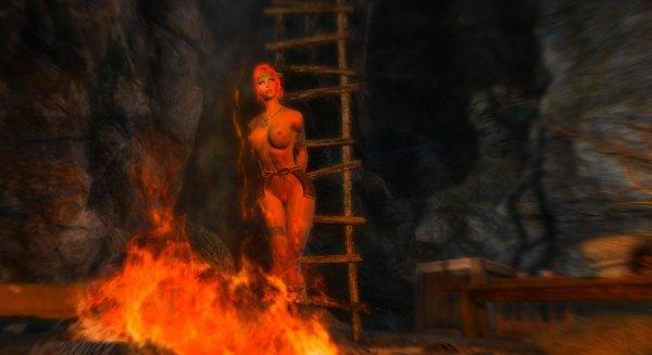 Шэйла в пещере у костра.. Enderal (сборка 2.0)
