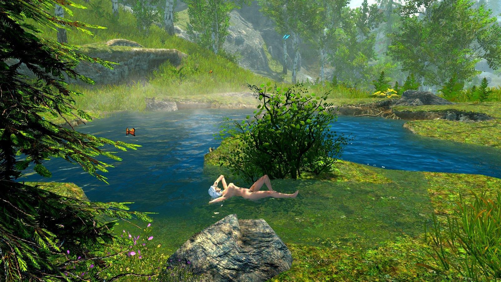 Цири нежиться в теплой воде.. SkyrimSE (сборка 6.0)