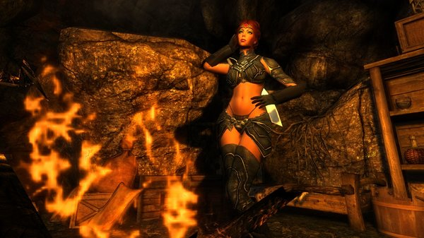 Шэйла в пещере у костерка.. Enderal (сборка 3.0)