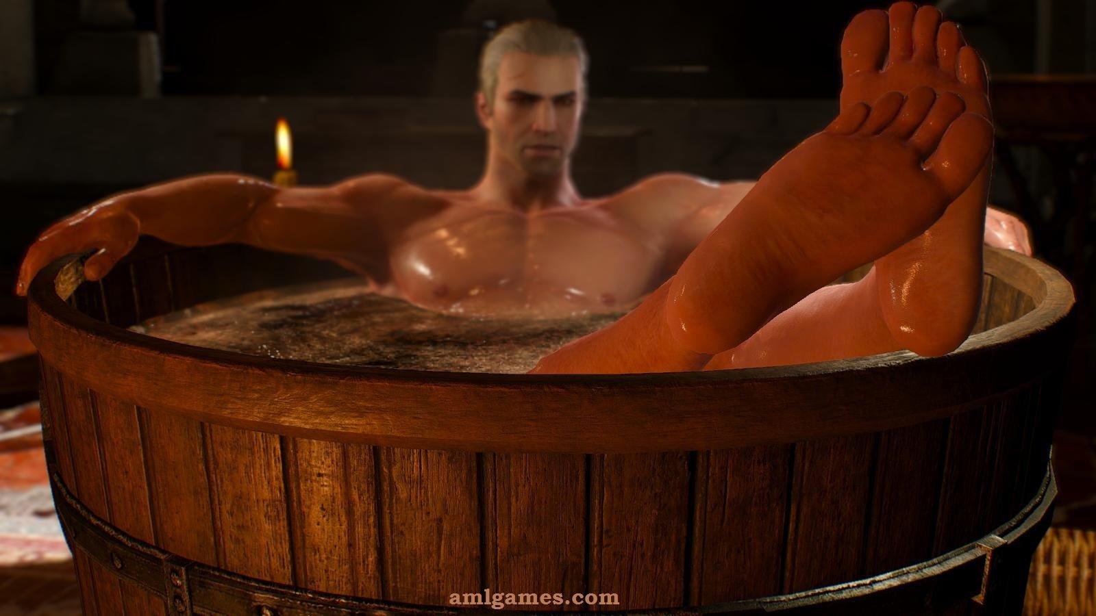 Геральт отмокает в ванне.. ВЕДЬМАК III