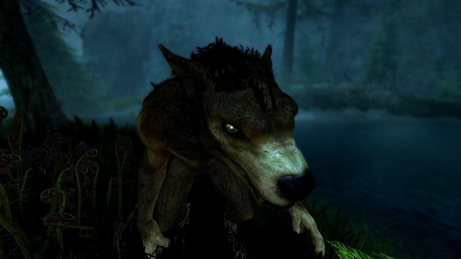 Вервольф-дикарь в ночи.. SkyrimSE (сборка 6.0)