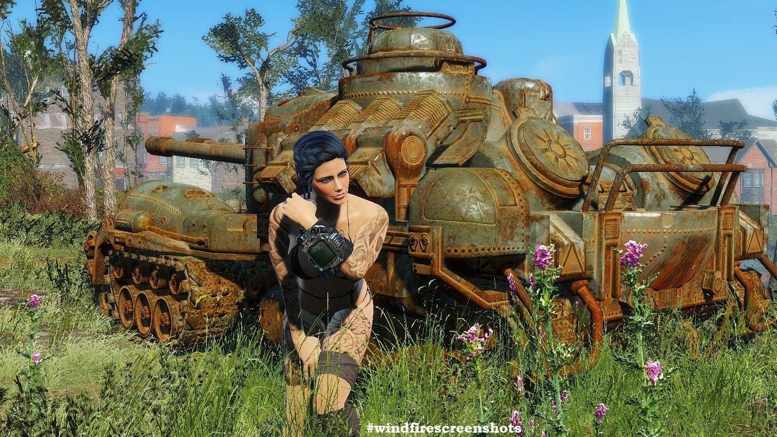 Алиса на фоне танка.. FALLOUT-4 (Сборка 6.2)