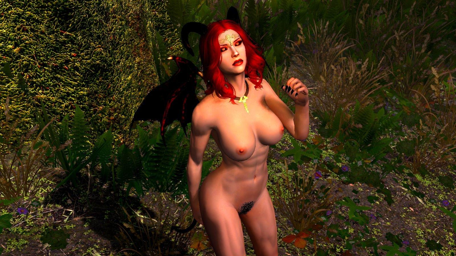 Эллари гуляет по лесу нагой. SkyrimSE (сборка 6.0)