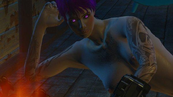Ева возле камина.. Fallout-4 (Сборка 6.4)