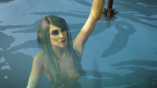 Владычица озера дарит меч Геральту..