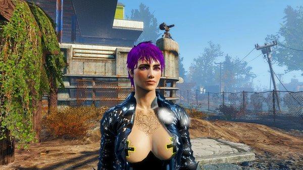 Ева в инспекцией в поселении.. Fallout-4 (Сборка 6.4)