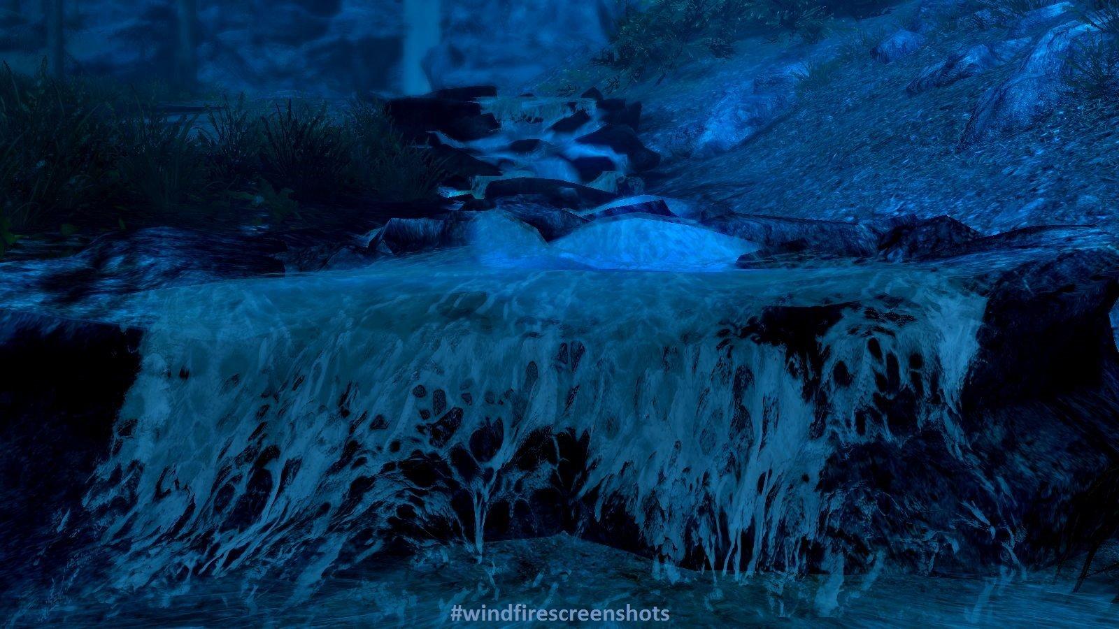 Горный ручей ночью.. SkyrimSE (сборка 6.0)