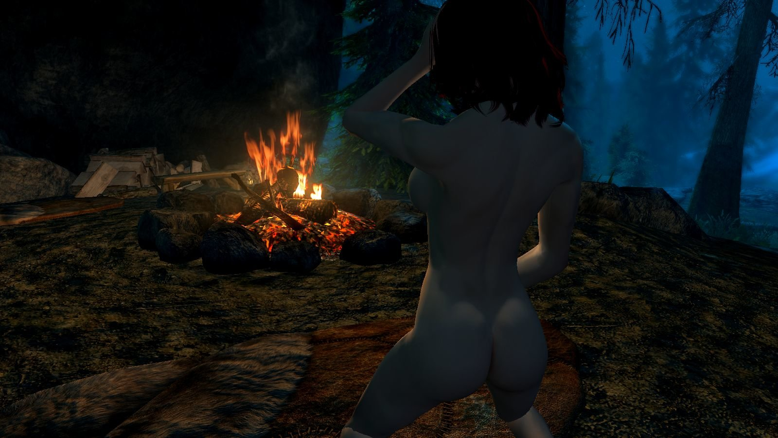 Эллари ночью у костра.. SkyrimSE (сборка 6.0)