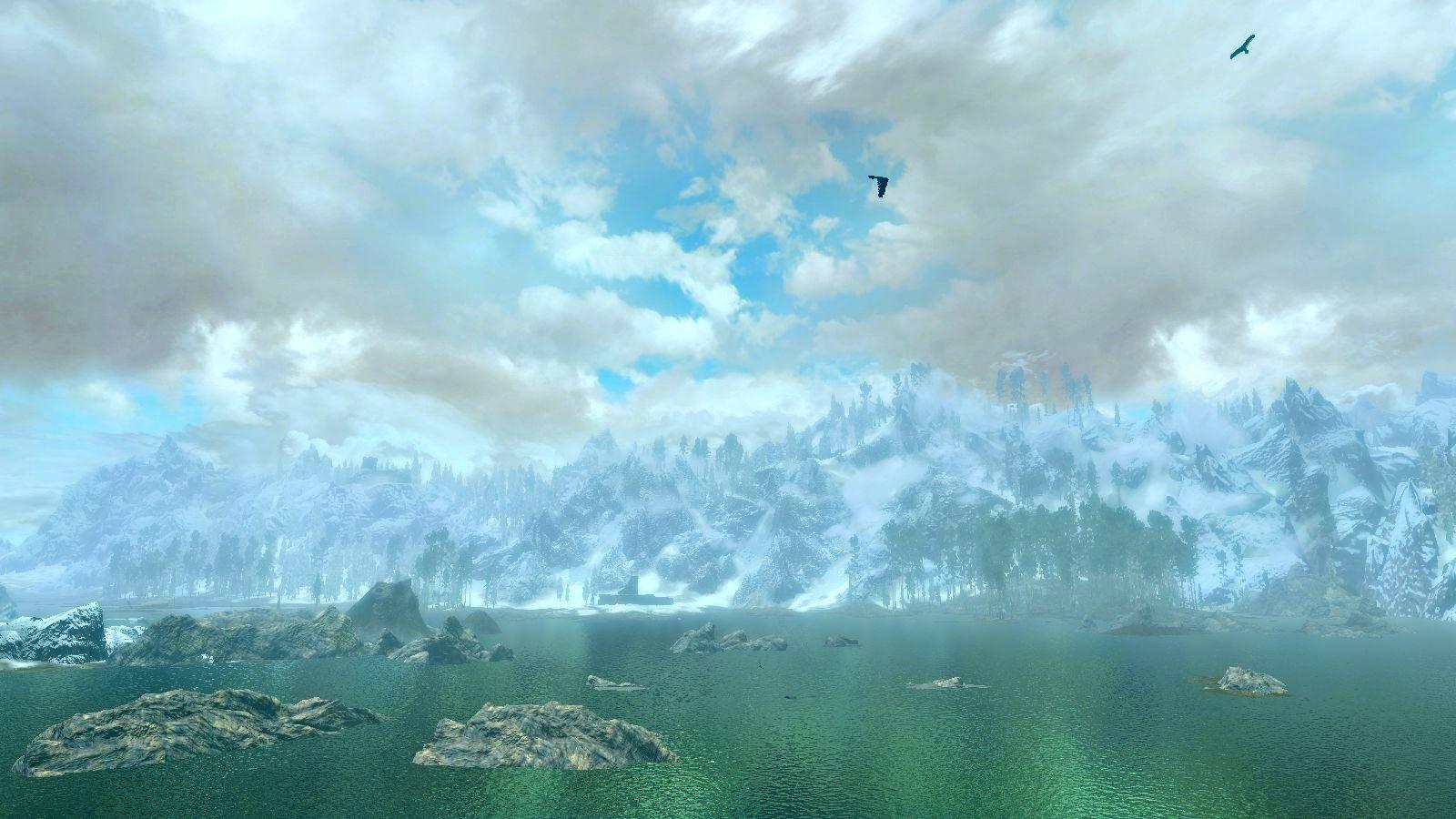 """Вид на Скайрим с """"моря холодных ветров"""""""