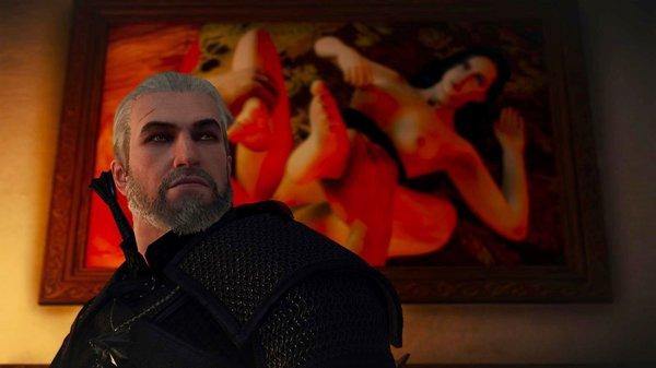 Геральт возле картины.. Ведьмак III (сборка Торна)