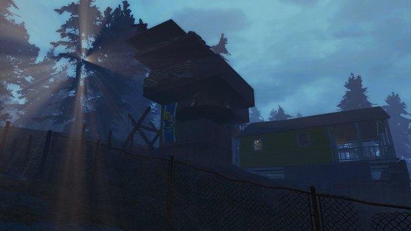 Охранная вышка рядом с входом в поселение.