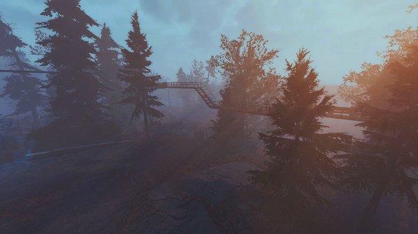 По периметру поселения мостики меж деревьев