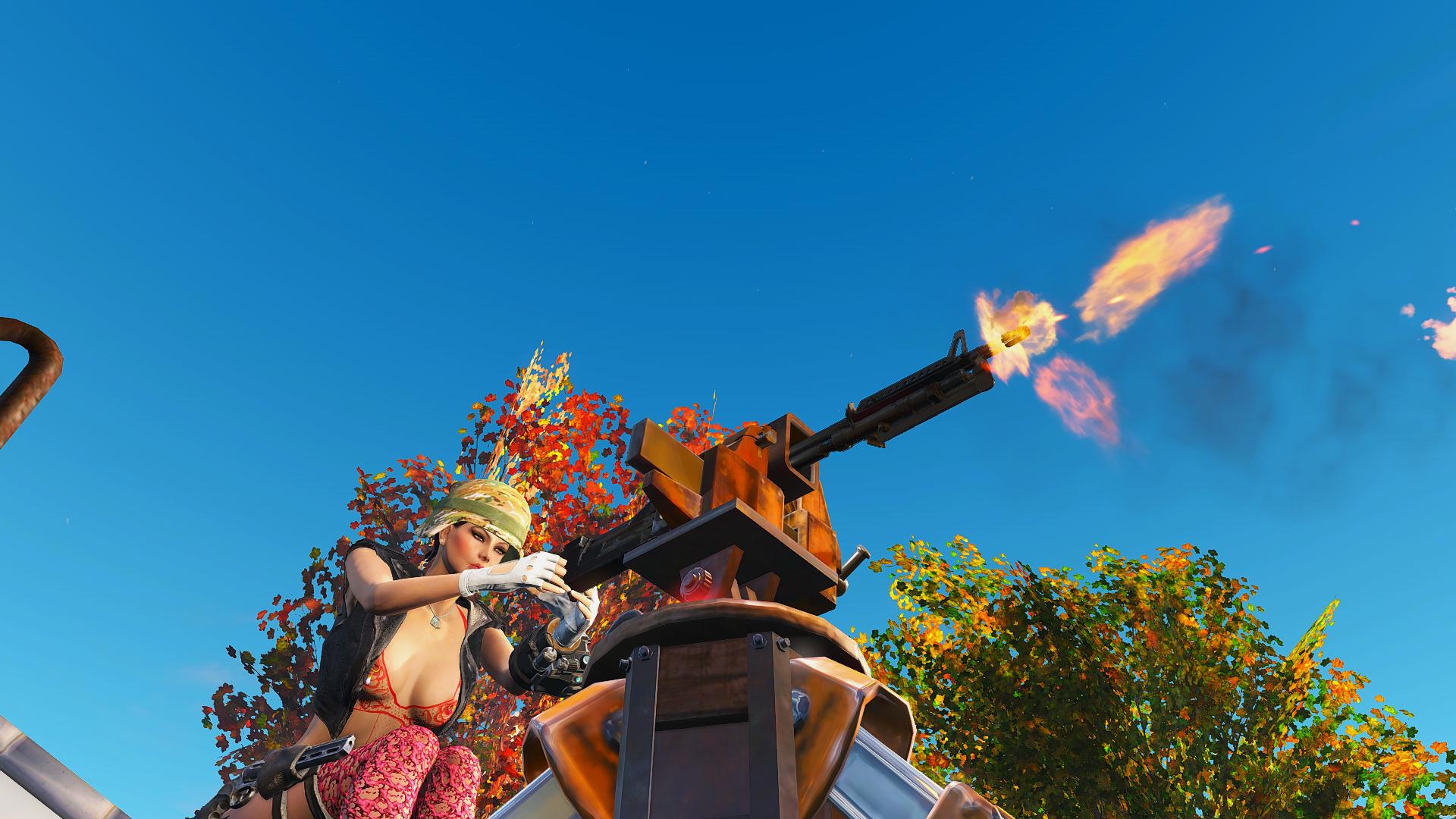 Алиса ведёт огонь из станкового пулемёта.