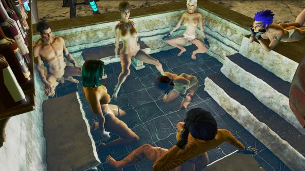 """Нейт отмокает в """"клубничном"""" бассейне."""