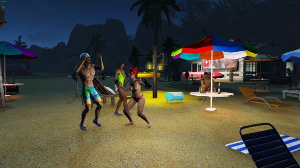 Танцы на пляже ночью.