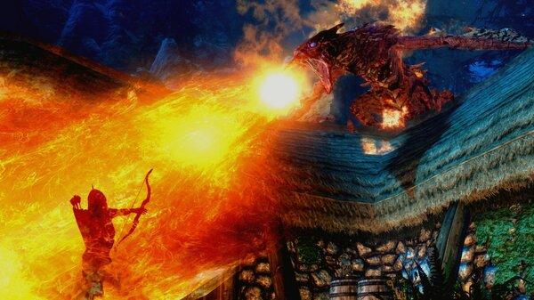 Напал дракон.. SkyrimSE (сборка 6.0)
