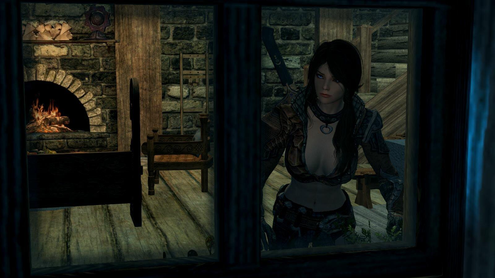 София в окне.. SkyrimSE (сборка 6.0)