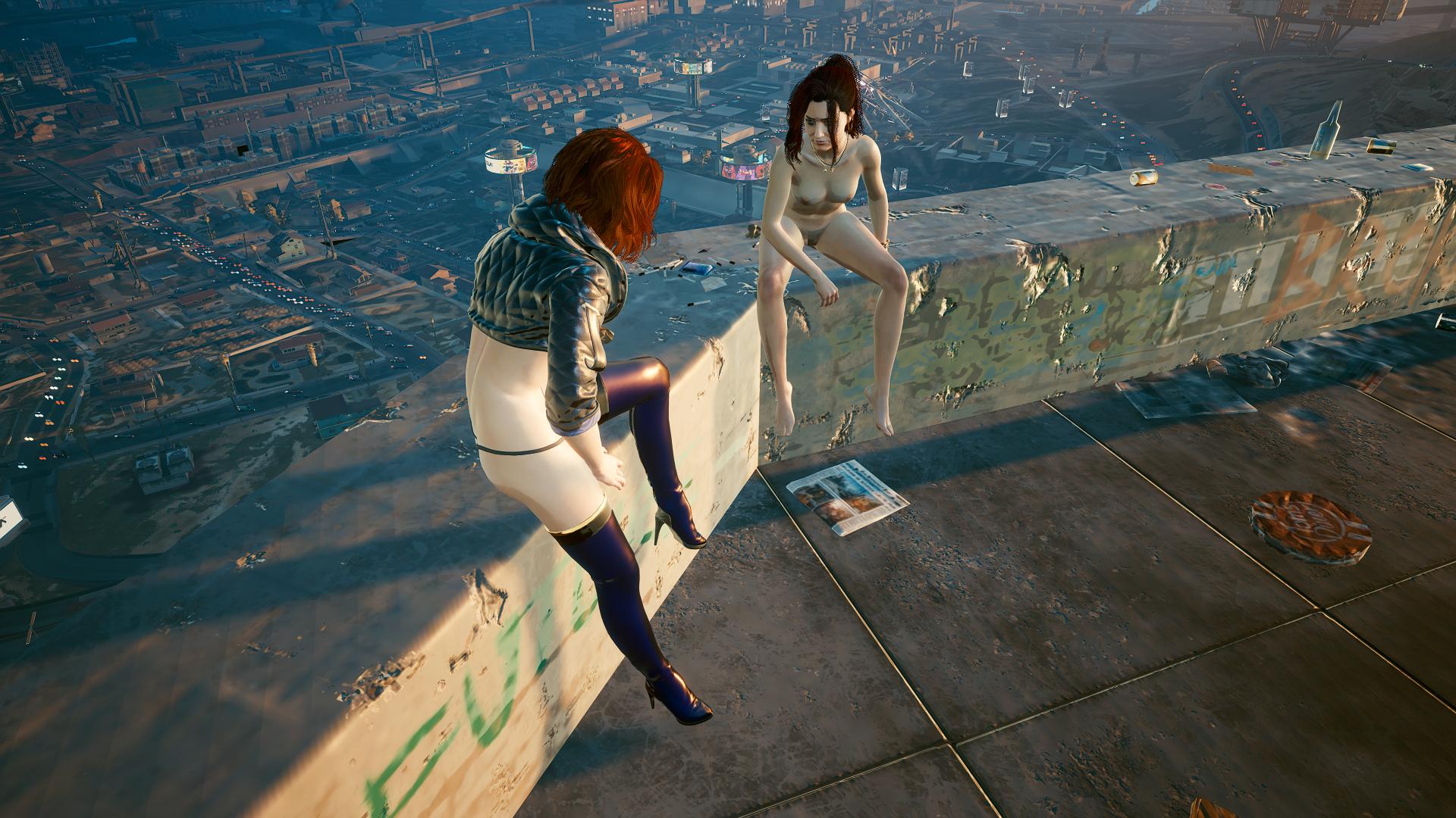 Клер и Ви утром на смотровой площадке.