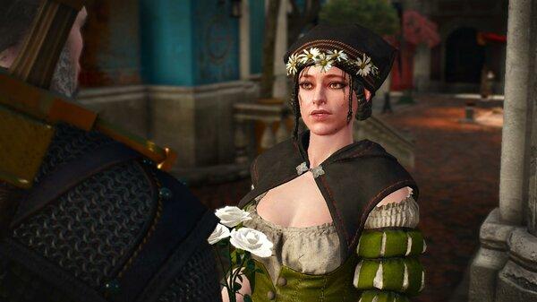 Геральт покупает цветы на могилу Анны..