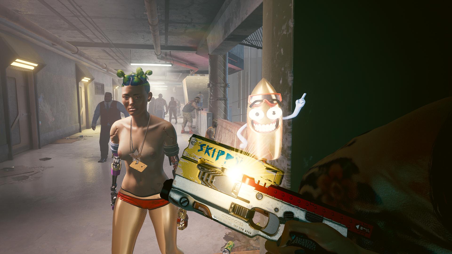 """Пистолет:-""""Привет, меня зовут Скиппи!""""."""