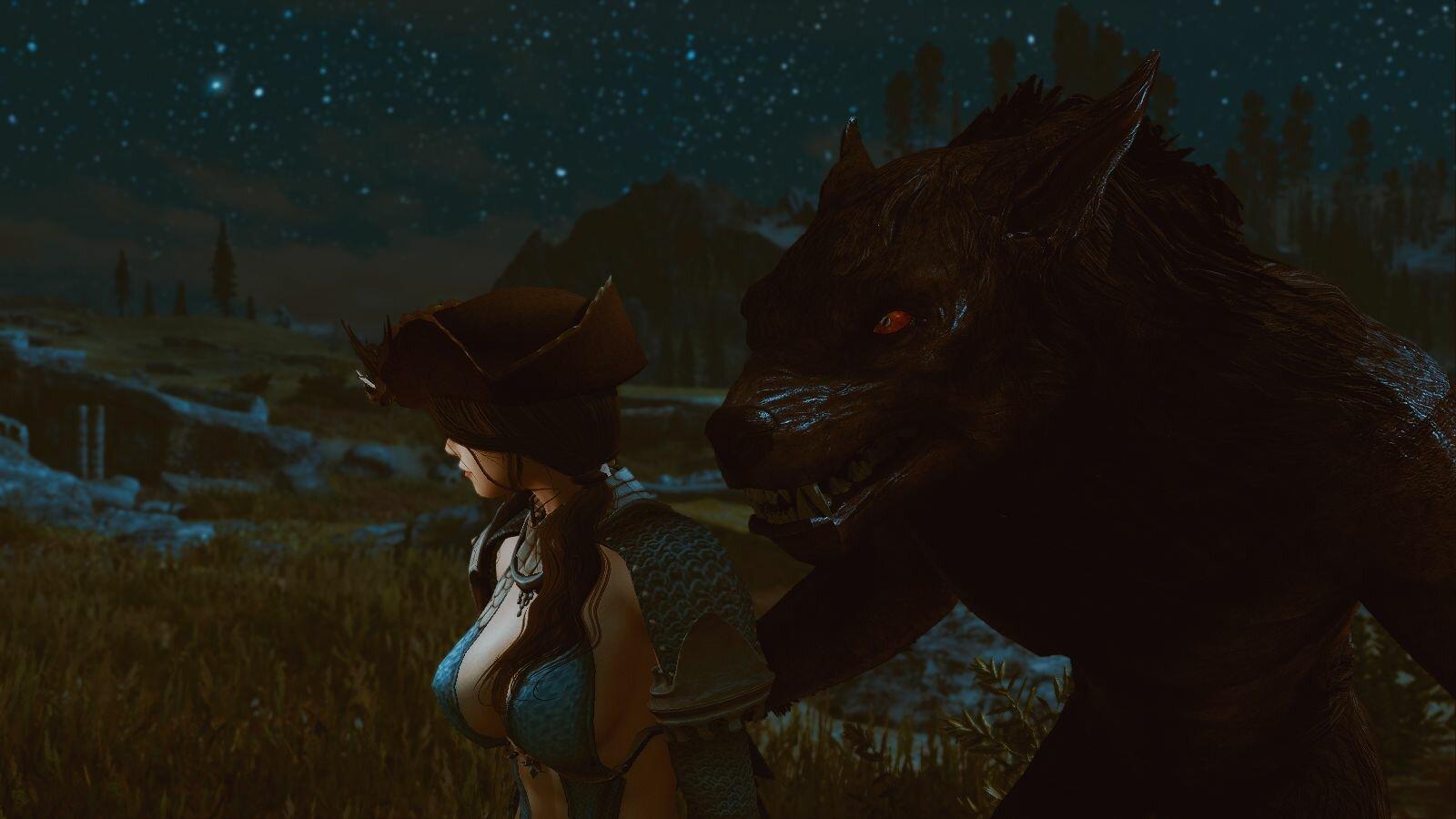 СофиЯ и волк :)  SkyrimSE (сборка 6.0)