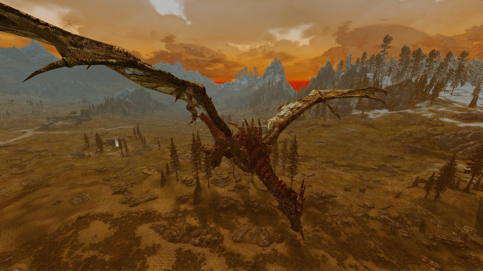 Дракон над пустошами Скайрима.