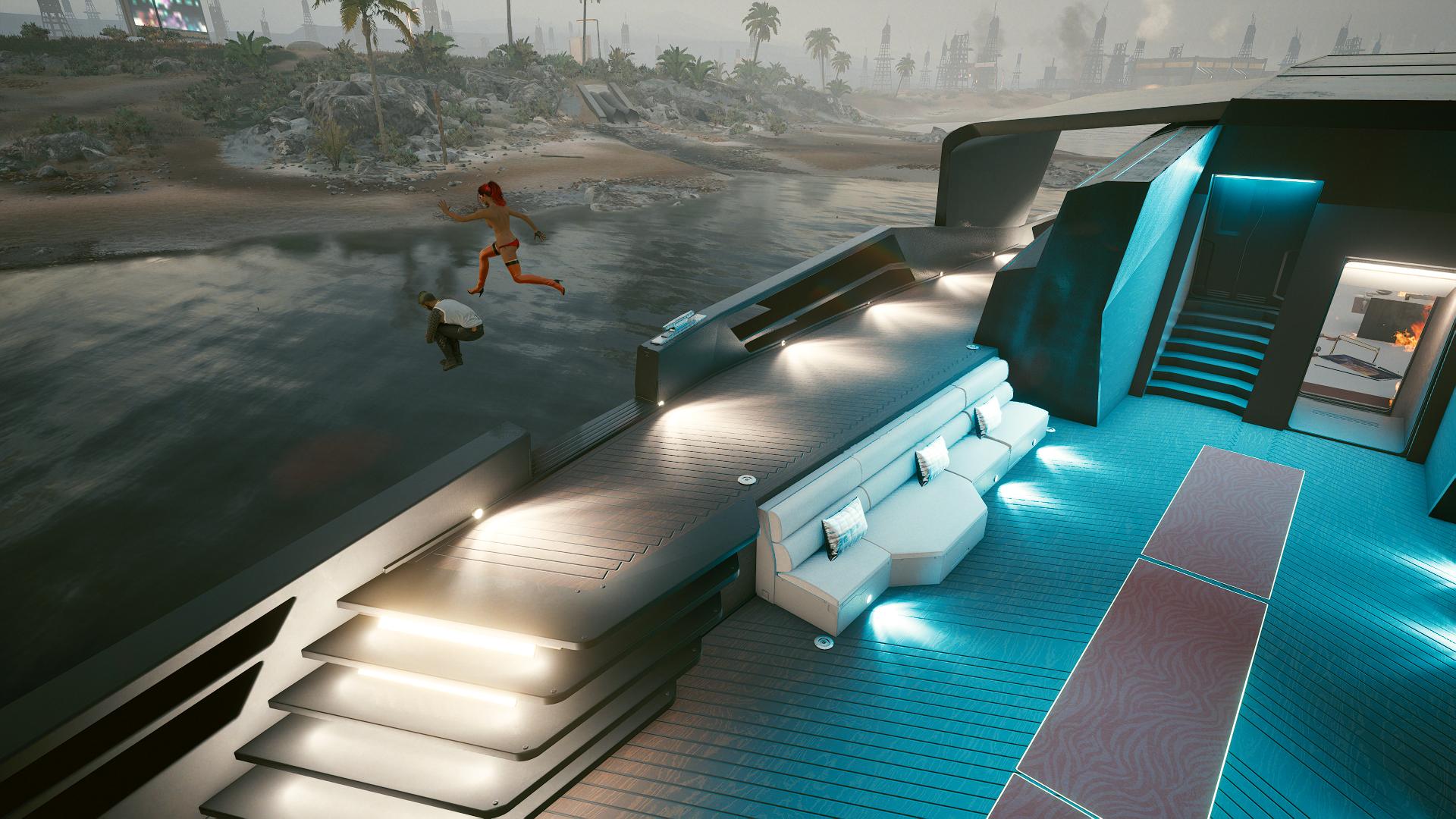 Ви и Керри прыгают с яхты.