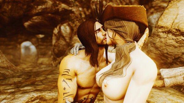 Эйран и София целуются.. SkyrimSE (сборка 6.0)