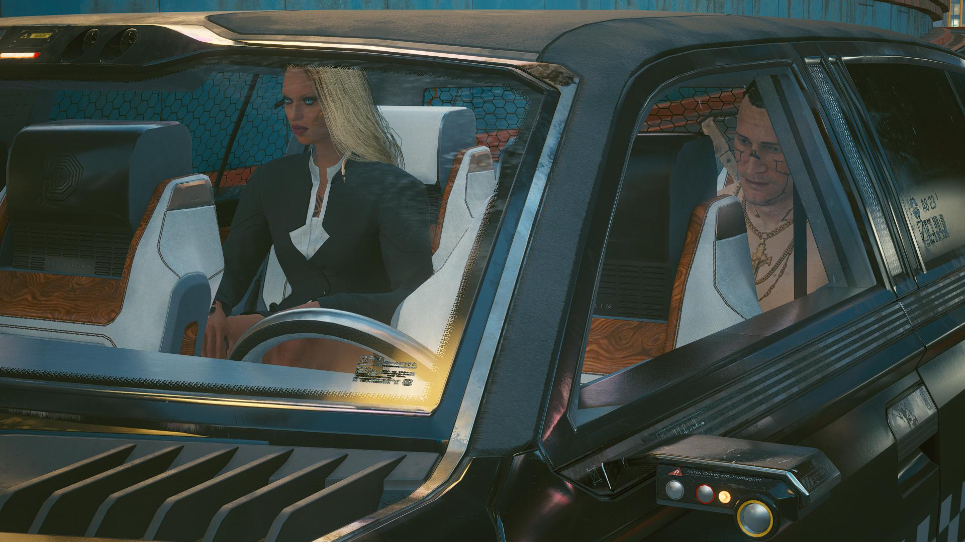 Ви и Джеки в такси Деламейна.